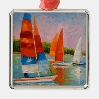 Sailboats on the river Silver-Colored square decoration