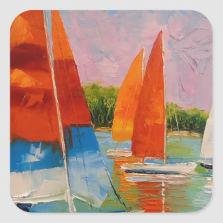 Sailboats on the river square sticker