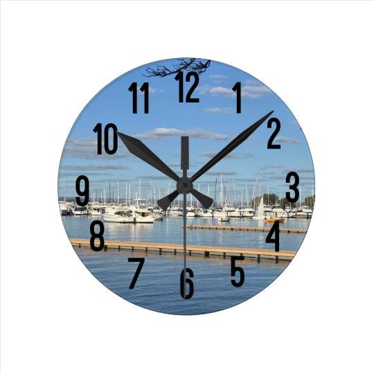 Sailboats on the River Wall Clocks