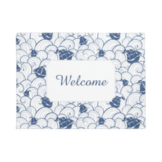 Sailboats On The Sea Pattern | Add Your Text Doormat
