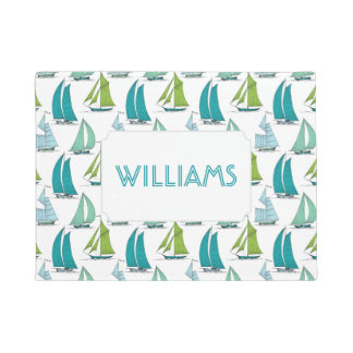 Sailboats On The Water Pattern | Add Your Name Doormat