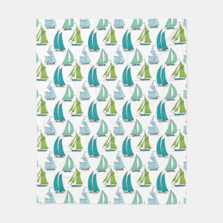 Sailboats On The Water Pattern Fleece Blanket