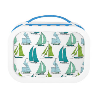 Sailboats On The Water Pattern Lunch Box