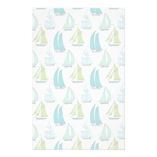 Sailboats On The Water Pattern Stationery