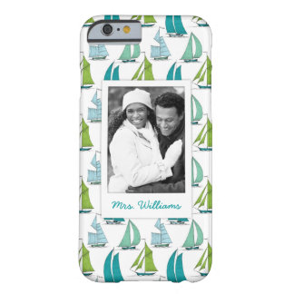 Sailboats On Water Pattern | Your Photo & Name Barely There iPhone 6 Case