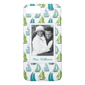Sailboats On Water Pattern | Your Photo & Name iPhone 8/7 Case