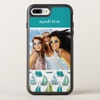 Sailboats On Water Pattern | Your Photo & Name OtterBox Symmetry iPhone 8 Plus/7 Plus Case