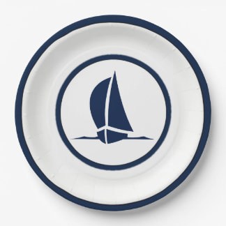 Sailboats Paper Plate