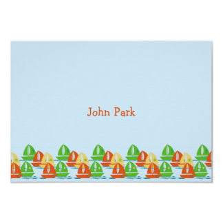 "Sailboats Personalized Thank You Notes 3.5"" X 5"" Invitation Card"