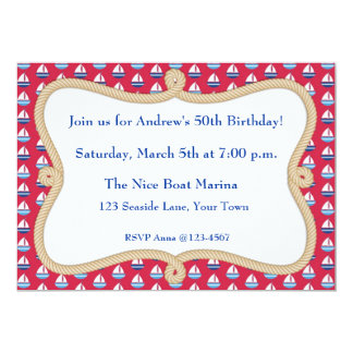 Sailboats, Rope Frame, Nautical Themed Invitation