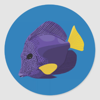 Sailfin tang classic round sticker