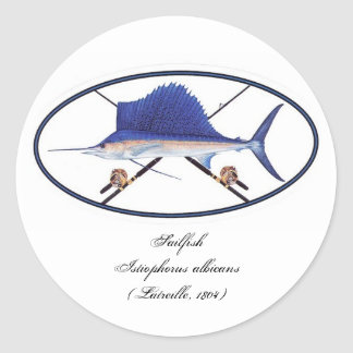 Sailfish decal classic round sticker