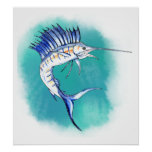 Sailfish in Watercolor Poster