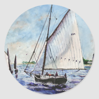 Sailing Along Fine Art Sailboats Watercolor Classic Round Sticker