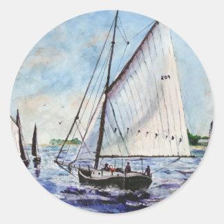 Sailing Along Fine Art Sailboats Watercolor Round Sticker