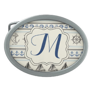 Sailing Anchor Nautical Rope Monogram Belt Buckle