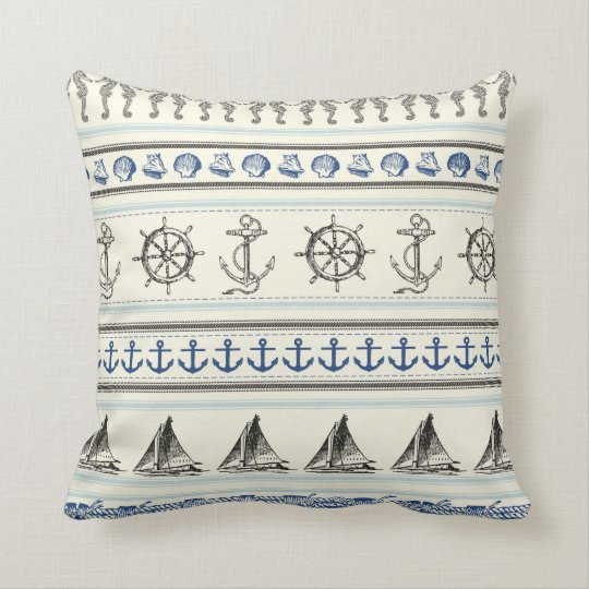 Sailing Anchor Nautical Rope Throw Couch Pillow