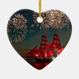 Sailing and fireworks ceramic heart decoration