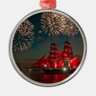 Sailing and fireworks Silver-Colored round decoration