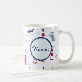Sailing and Holiday Beach theme, name Coffee Mug