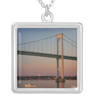Sailing and leaving New Port Road Island Silver Plated Necklace