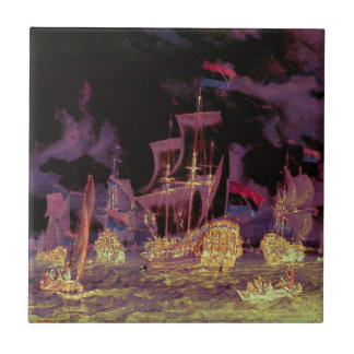 Sailing at Night on the Ocean Tile