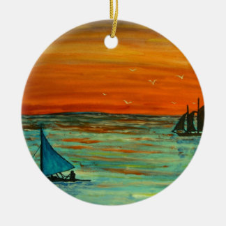 Sailing at sunset round ceramic decoration