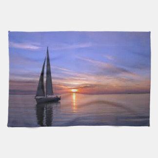 Sailing at Sunset Tea Towel