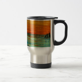 Sailing at sunset travel mug