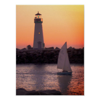 Sailing at Twilight at Santa Cruz Harbor Poster