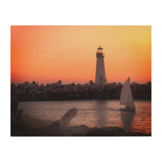 Sailing at Twilight at Santa Cruz Harbor Wood Wall Art