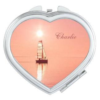 Sailing Away custom monogram pocket mirrors