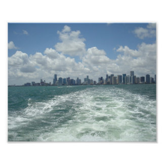 Sailing away from Miami Photo Print