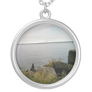 sailing away silver plated necklace