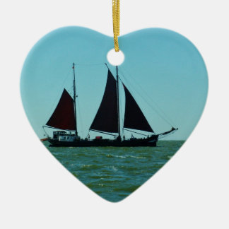Sailing barge ceramic heart decoration