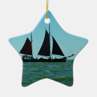 Sailing barge ceramic star decoration