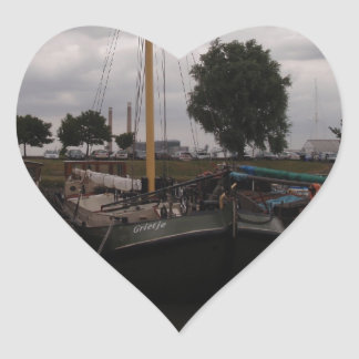 Sailing Barge On A Grey Day Heart Sticker