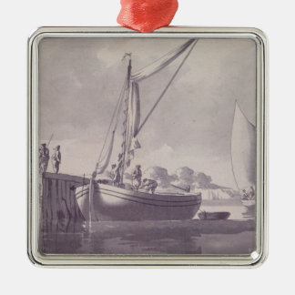 Sailing Barges Approaching a Wharf Silver-Colored Square Decoration