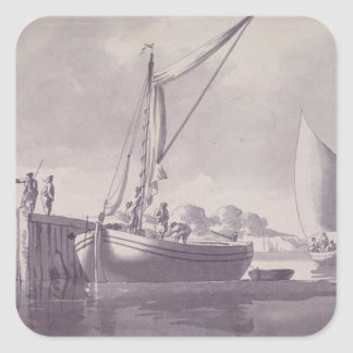 Sailing Barges Approaching a Wharf Square Sticker
