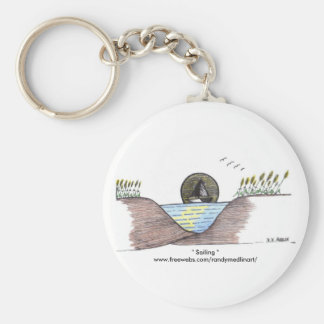 """"""" Sailing """" Basic Round Button Key Ring"""