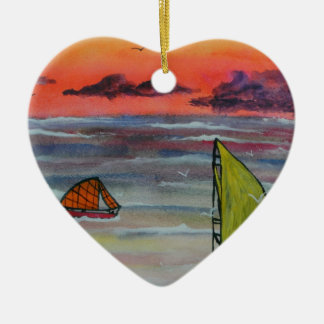 Sailing before the storm ceramic heart decoration