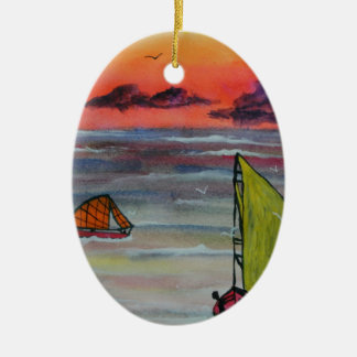 Sailing before the storm ceramic oval decoration