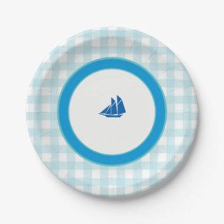 Sailing (Blue Plaid) 7 Inch Paper Plate