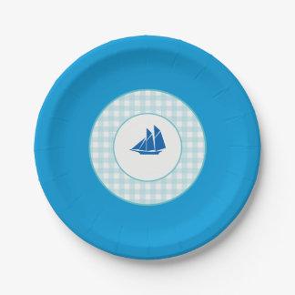 Sailing (Blue Plaid) Paper Plate