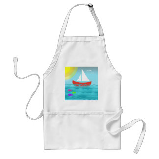 Sailing Blue Sea Cartoon Summer Navy Nautical Chic Standard Apron