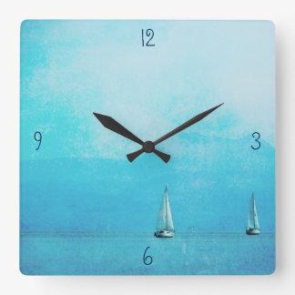 sailing blue square wall clock