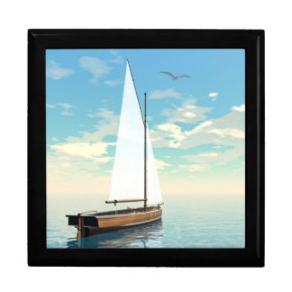 Sailing boat - 3D render Large Square Gift Box