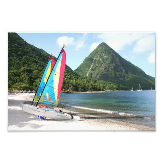 Sailing Boat and water sports equipment on a beach Photographic Print