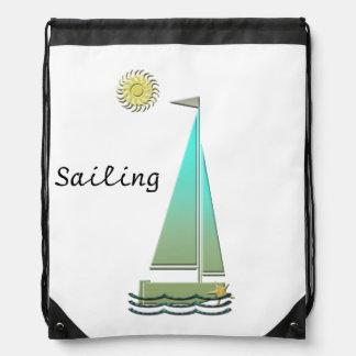 Sailing Boat Art Drawstring Backpack