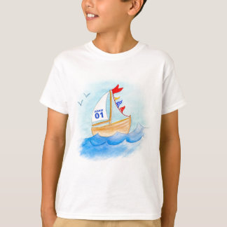 Sailing boat art name number on sail t-shirt